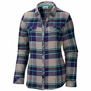 Columbia Simply Put Flannel Button Down Plaid Shirt Womens Small Hiking Cozy